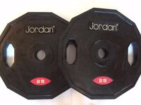 2 x 25 kg Jordan Rubber-Coated Olympic Weight Plates (2 pairs available)