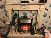 Electric fire with mantle and silver fridge freezer (please read description)