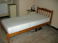 PIne single bed with memory foam mattres in very good condition
