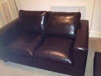calfskin leather sofa 2 seats, brown