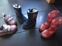 Girls boots and light up trainers size 7 and wellies size 6