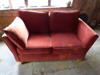 2 seater red settee / sofa
