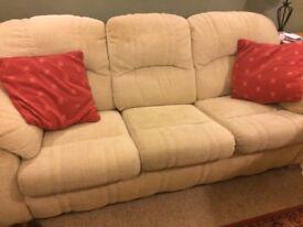 Cream fabric 3 seater sofa - excellent condition