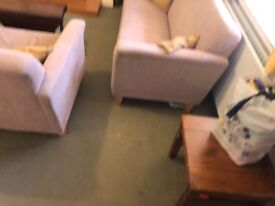 Two large fabric sofas