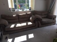 (((Jumbo cord 3 seater and large cuddle chair dfs)))