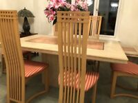 Italian Marble Dining Room Table & 6 Chairs