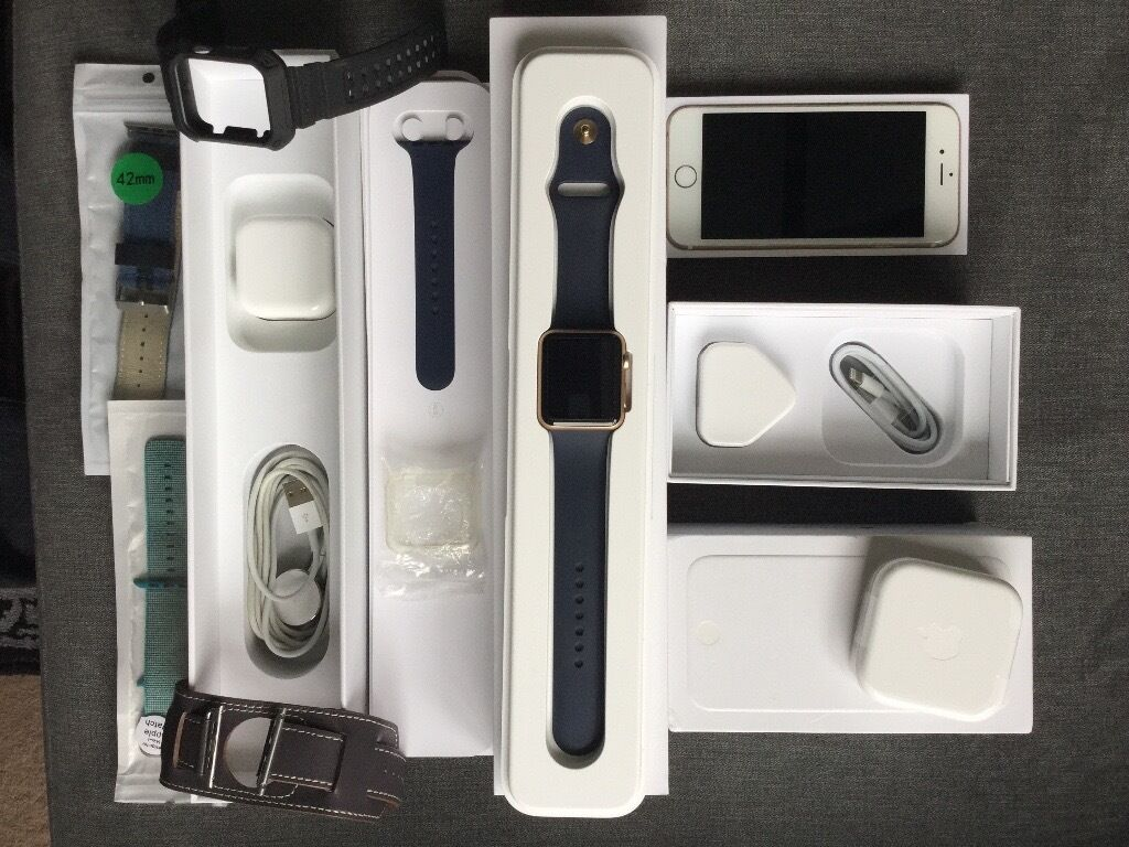 Apple Watch 42mm Gold and iPhone 6 Unlock Gold 16GB both are Mint Condition box with extrasin Greenwich, LondonGumtree - Apple Watch and iPhone 6 Unlock bundle see details down Apple Watch Sport band 42mm 1st generation gold with midnight blue strap clear case got glass protector on in mint condition with 4 extra straps include also original box charger and other bits,...