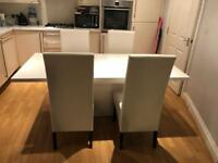 White gloss extendable table and chairs