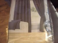 brand new indigo navy crinkle embellished lined curtains eyelet 66x 90in drop bnip.