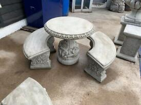 Stone table and bench set