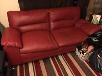 3 & 2 red leather seater sofa's