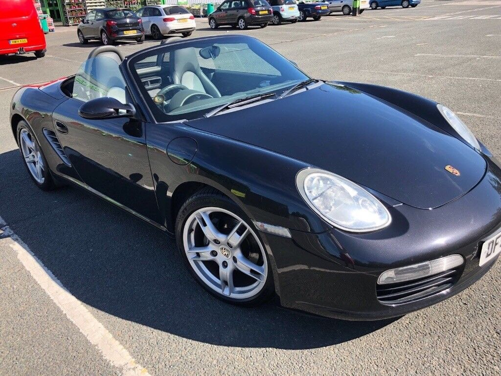 Beautiful black convertible Porsche