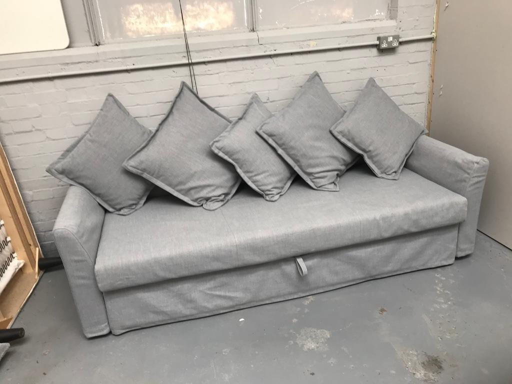 Free Delivery Ikea Holmsund Grey 3 Seat Sofa Bed