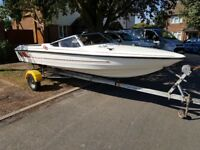 Fletcher GTO Arrowspeed speed boat & snipe breakback trailer and evinrude 33hp ski twin outboard