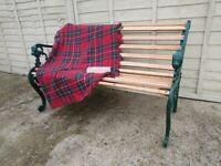 Garden Bench Solid Oak Slates with Cast Iron Ends