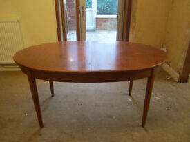 Oval Teak Dining Table - Extending - Good Condition