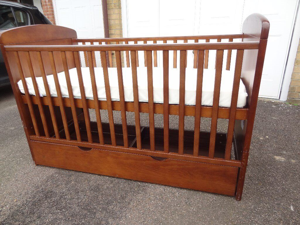 Used Toy's R Us I love my bear adjustable hight Cot/First Bed including under bed storage for sale