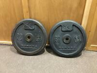 2x 20kg Domyos Metal Weights Plates. Can Deliver
