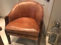 Brown Antiqued Leather Occasional Chair