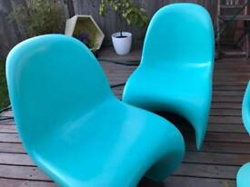 Original Verner Panton Chairs x2 in limited edition blue by vitra