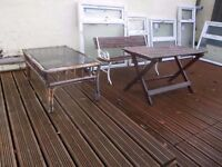 Cast iron Garden Bench & Wooden Table and Glass Top Bamboo Table - Garden / Patio Furniture