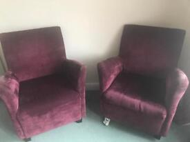 2 matching purple velour sturdy comfortable ** Chairs