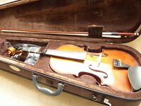 Beginner's violin: like new condition inc. accessories needed - bow, shoulder & chin support, rosin