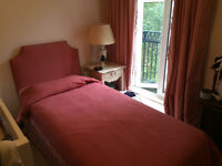full bedroom furniture to sell: 2 single beds+ covers+ night table+ lamp