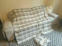 Squares grey white fabric Curtain in excellent condition and very clean