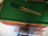 Good quality carpenter made table top pool table. 6' x 3' with oak trims.