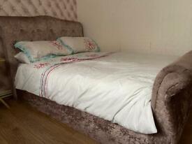 Velvet double ottoman bed