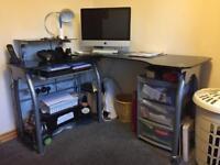 Black corner desk.