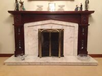 Marble & Mahogany Fireplace, Excellent Condition