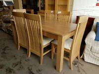 Oak large dining table and 6 chairs