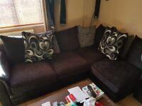 black Gray white left corner sofa