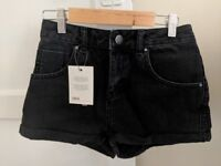 ASOS black denim shorts, UK8, never worn, £15