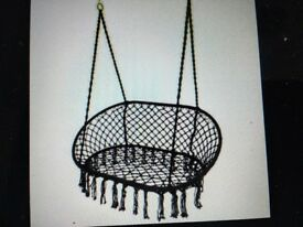 Black Macrame Double Hanging Seat - New