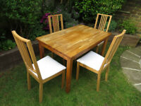 Ikea solid oak Ekensberg table with 4 oak Borje chairs with white covers