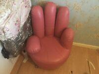 Designer Pink children's leather hand chair