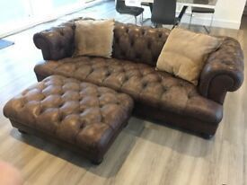 Leather Chesterfield Sofa and Foot Stool - DFS Dover/Oscar Range - 2 years old - Third of Price