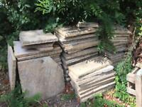 100 paving slabs, various sizes, free to collect