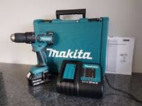 MAKITA DHP459 18v LXT BRUSHLESS LI-ION COMBI DRILL, 1x3ah,charger, AS BRAND NEW,,,,DeWALT