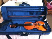 Violin, full size with bow, chin rest and case. Chinese make suit up to grade 5.