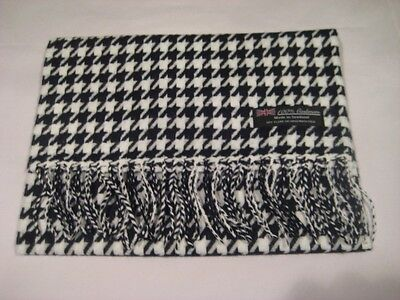 (2 PLY 100% Cashmere WHITE BLACK HOUNDSTOOTH Scarf Made in Scotland Wool Men)