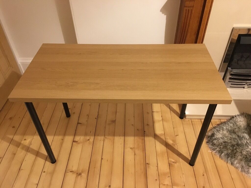 ikea linnmon 120cm x 60cm office desk oak finish adjustable legs in meadows edinburgh. Black Bedroom Furniture Sets. Home Design Ideas