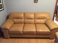 FREE 2 seater & 3 seater tan leather couches