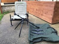 Korum chair with tripod feeder arm/rests,shoulder strap and bag coarse/river/carp fishing