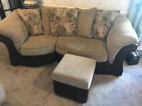 Three Seater Sofa and Pouffe - Collection Only