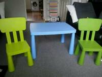 Ikea mammut table with two chairs