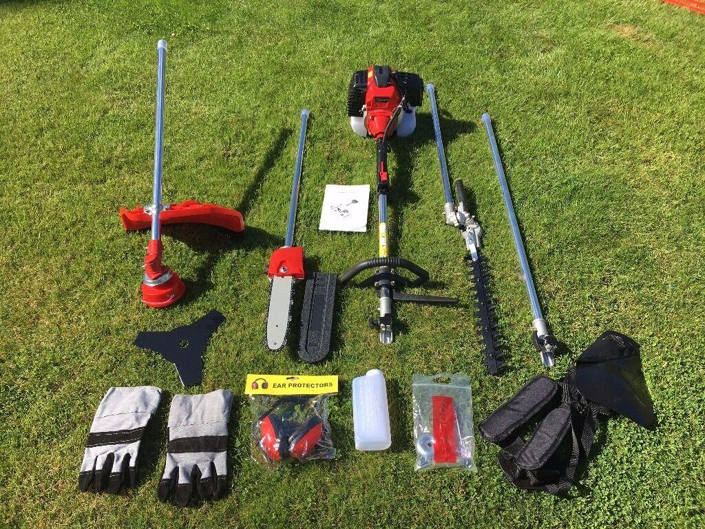52cc Petrol 5 in 1 Garden Multi Tool Hedgetrimmer Strimmer Chainsaw